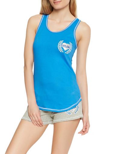 Graphic Tank Top and Shorts Pajama Set,NAVY,large