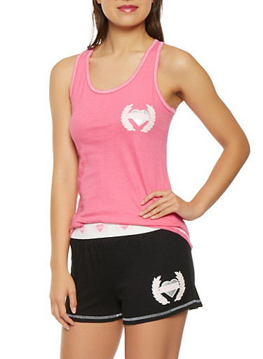 Graphic Tank Top and Shorts Pajama Set,ROSE,large