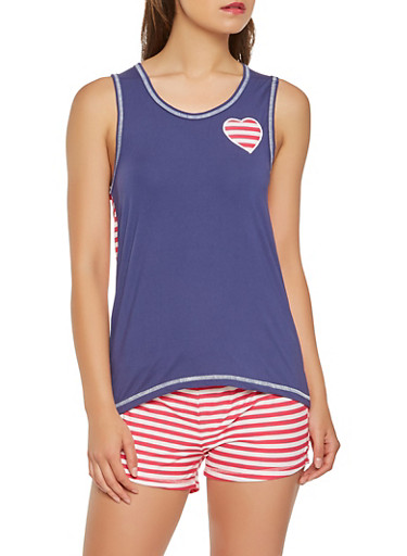 Heart Patch Tank Top with Shorts Pajama Set,NAVY,large