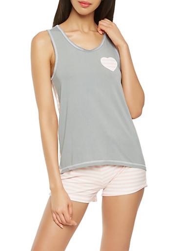 Striped Back Tank Top with Shorts Pajama Set,HEATHER,large