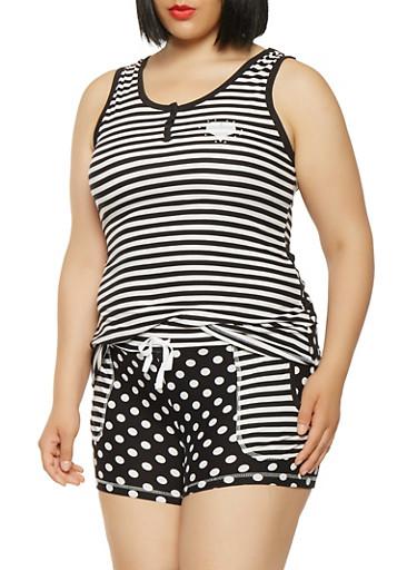 Plus Size Mix Print Pajama Tank Top and Shorts,BLACK,large