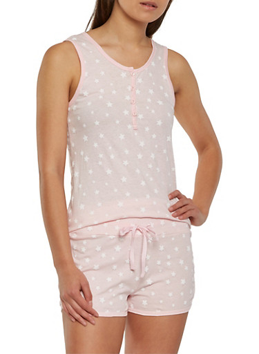 Star Print Foil Graphic Pajama Set,PINK,large