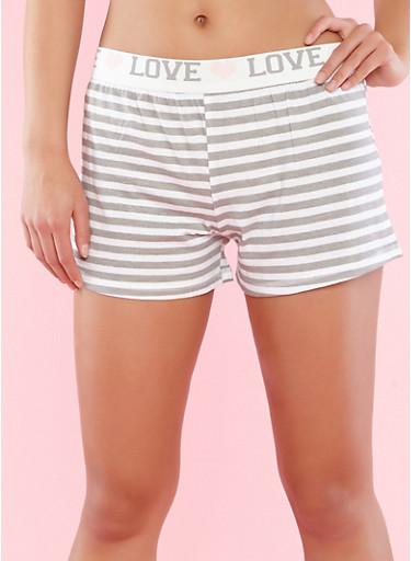 Graphic Waistband Striped Pajama Shorts,GRAY,large