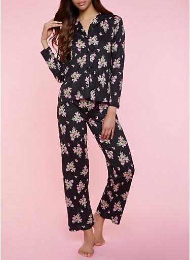 Floral Polka Dot Pajama Shirt and Pants,BLACK,large
