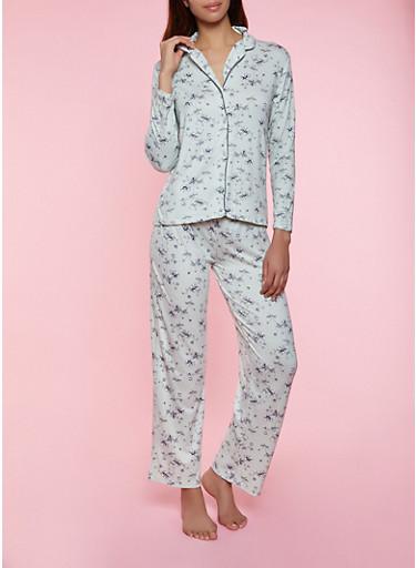Floral Pajama Shirt and Pants,GREEN,large