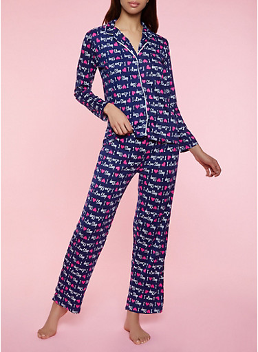 I Love Sleep Pajama Shirt and Pants,NAVY,large