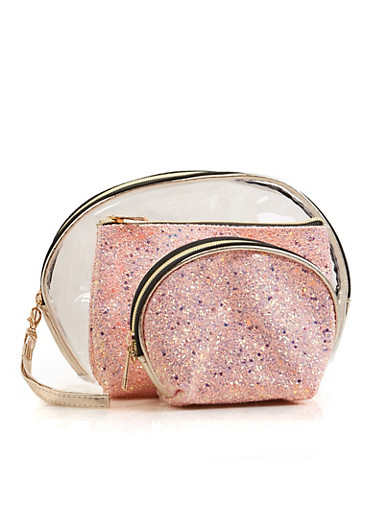 3 Piece Glitter Cosmetic Bag Set,ROSE,large