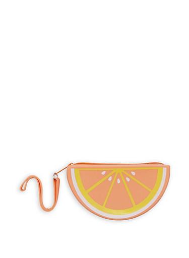 Jelly Orange Wristlet,CORAL,large
