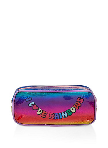 I Love Rainbows Glitter Cosmetic Pouch,MULTI COLOR,large