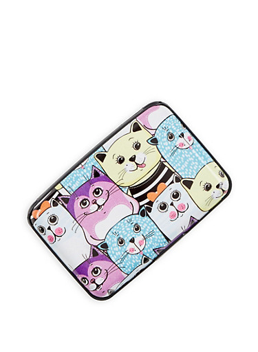 Cat Graphic Card Wallet,MULTI COLOR,large