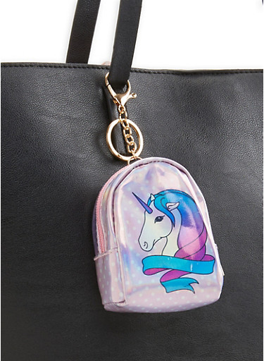 Holographic Unicorn Backpack Keychain,PINK,large