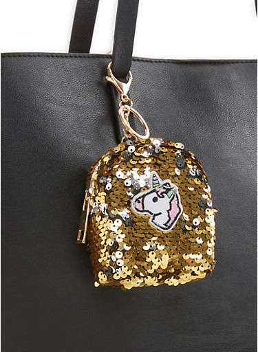 Reversible Sequin Unicorn Backpack Keychain,MULTI COLOR,large
