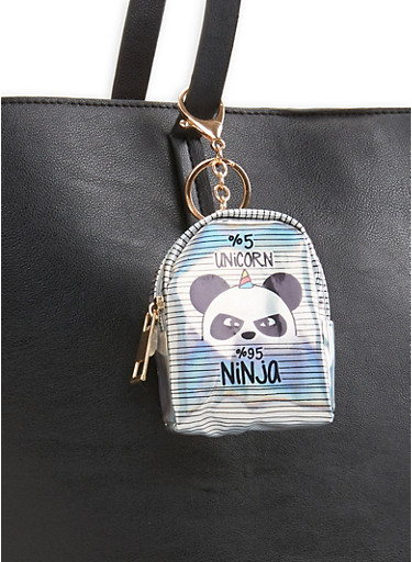 Holographic Panda Backpack Keychain,SILVER,large
