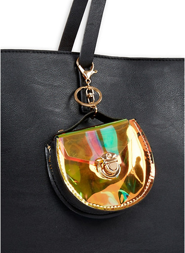 Iridescent Coin Purse Keychain,BLACK,large