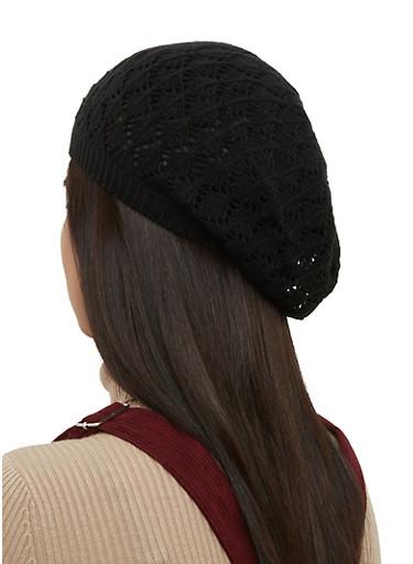 Solid Knit Beret,BLACK,large