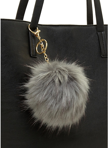 Large Pom Pom Keychain,GRAY,large
