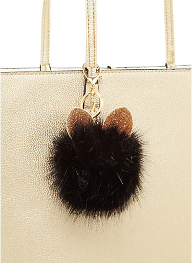 Glitter Ear Pom Pom Keychain,BLACK,large