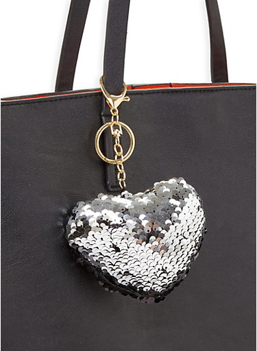 Reversible Sequin Heart Keychain,BLACK,large