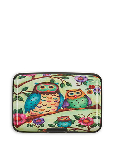 Owl Print Card Wallet,MULTI COLOR,large