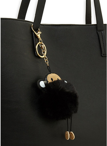 Monkey Pom Pom Keychain,BLACK,large
