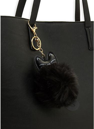 Kitten Pom Pom Keychain,BLACK,large