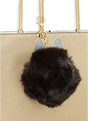 Glitter Ear Pom Pom Coin Purse Keychain,BLACK,large