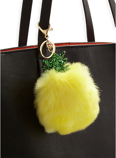 Pineapple Pom Pom Keychain,YELLOW,large