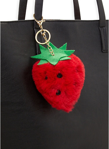 Strawberry Pom Pom Keychain,RED,large