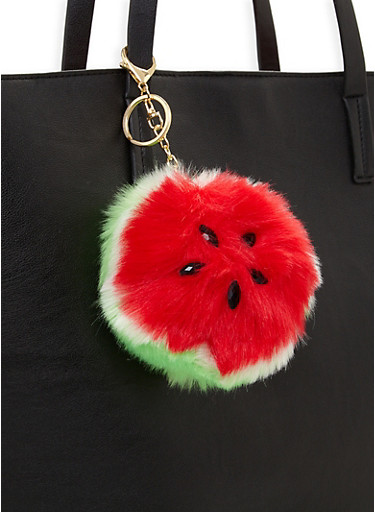 Watermelon Pom Pom Keychain,RED,large