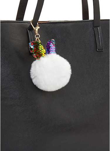 Sequin Bunny Ear Pom Pom Keychain,WHITE,large