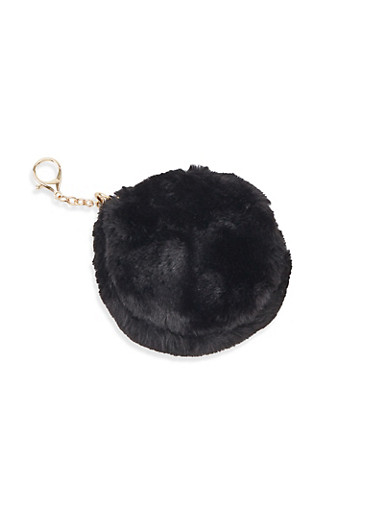 Round Faux Fur Keychain,BLACK,large