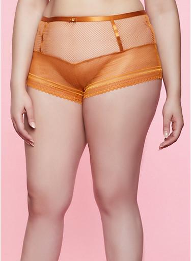 Plus Size Lace and Fishnet Boyshort Panty,COPPER,large