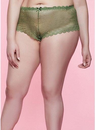 Plus Size Lace Caged Back Boyshort Panty,OLIVE,large