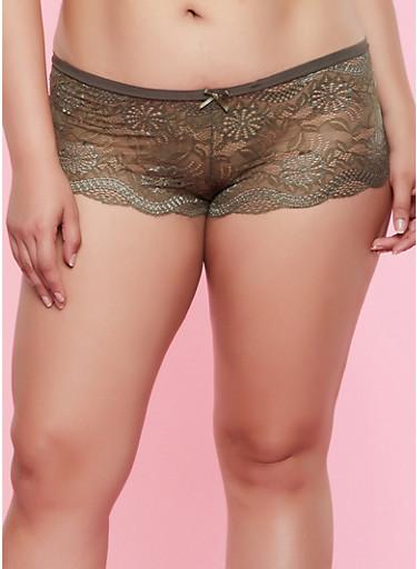 Plus Size Lace V Keyhole Boyshort Panty,OLIVE,large