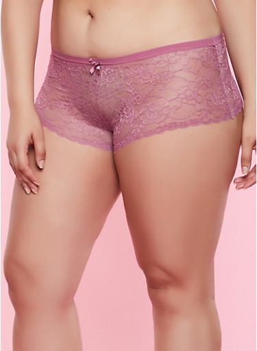Plus Size Floral Lace Boyshort Panty   3168068065184,LAVENDER,large