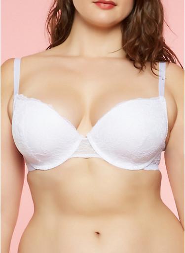 Plus Size Padded Lace Bra,WHITE,large