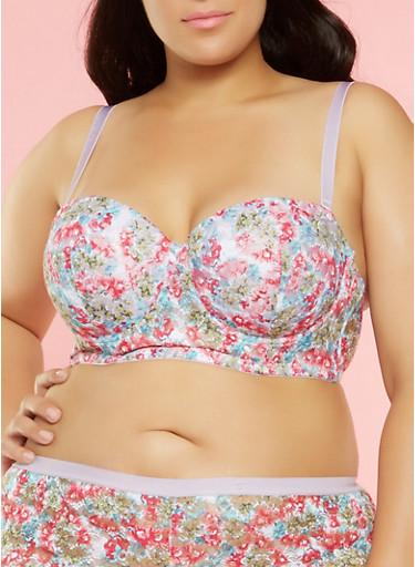 Plus Size Floral Lace Longline Balconette Bra,LILAC,large