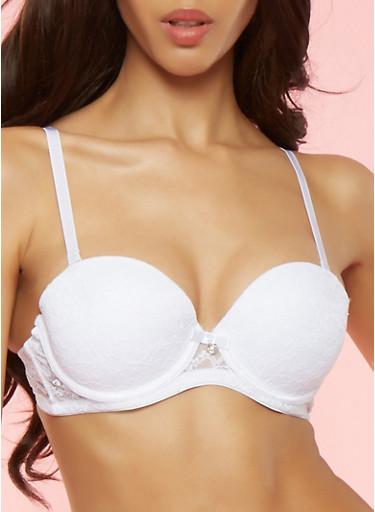White Lace Balconette Push Up Bra,WHITE,large
