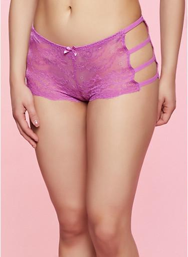 Lace Caged Boyshort Panty,FUCHSIA,large