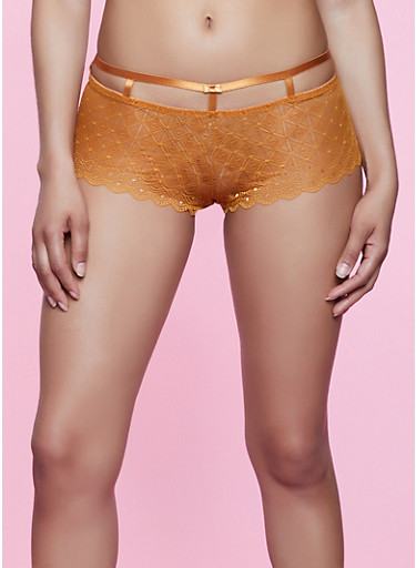 Caged Band Lace Boyshort Panty,COPPER,large