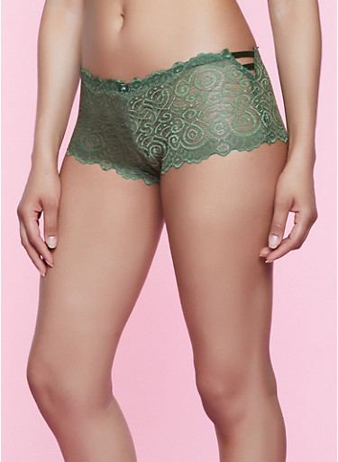 Caged Side Lace Boyshort Panty   3176064873425,OLIVE,large