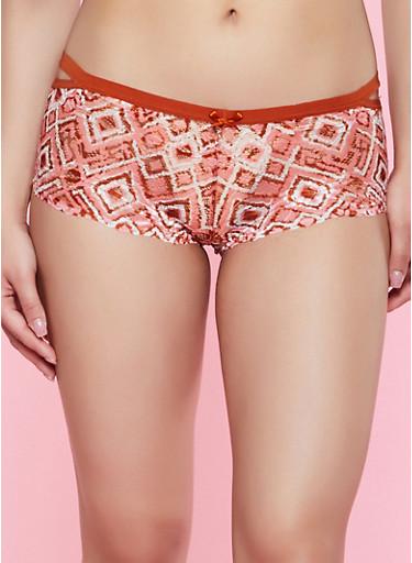 Aztec Cut Out Lace Boyshort Panty,BRONZE,large
