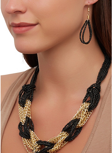 Chain Beaded Loop Necklace and Earrings,BLACK,large