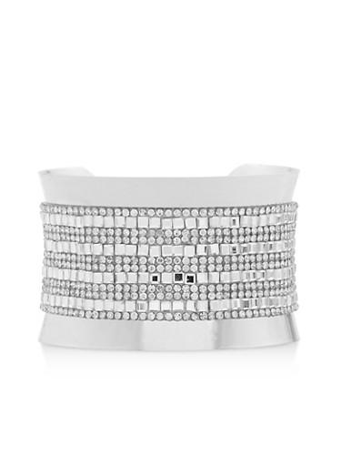 Rhinestone Studded Cuff Bracelet,SILVER,large