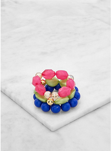Large Beaded Stretch Bracelets,BLUE,large
