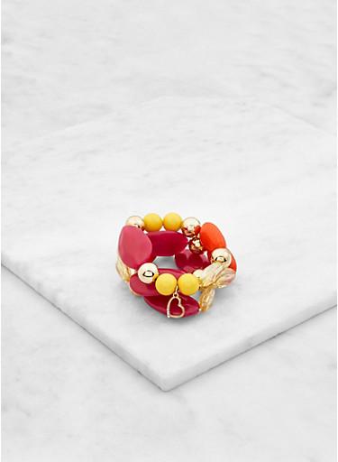 Heart Charm Beaded Stretch Bracelets,FUCHSIA,large
