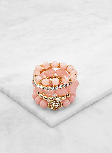 Rhinestone Stretch Bracelets Set,BLUSH,large