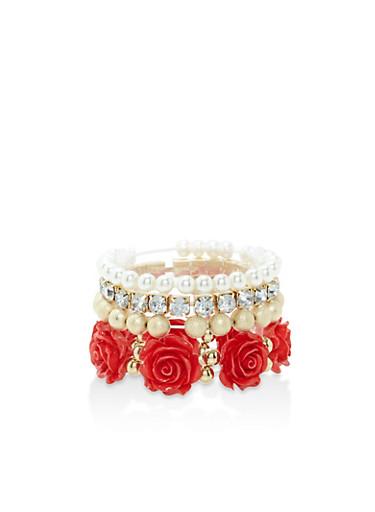 Set of 5 Beaded Stretch Bracelets,RED,large