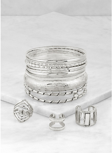 Plus Size Metallic Bangles with Ring Trio,SILVER,large