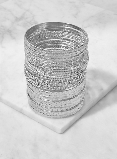 Multi Textured Metallic Bangles Set,SILVER,large